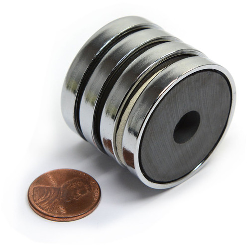 "Strong Magnet Round Base (Cup Magnet) 15 LB Pulling Power RB36 1.42"" Cup Magnet - 4 ea. Cup Magnets In This Pack"