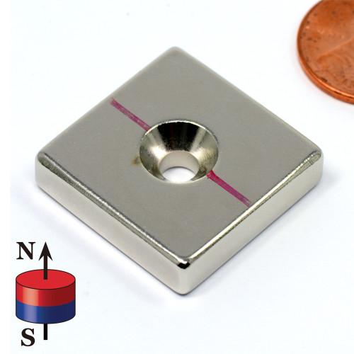 "Block Magnet N52 1""x1""x1/4"" w/ #8 Countersunk Hole"