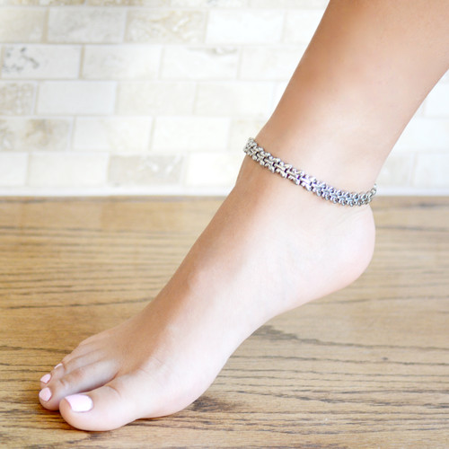 Magnetic Therapy Ankle Bracelet By Novoa, Women's Magnetic Butterfly Ankle Bracelet in Silver Stainless Steel 12,800 Gauss