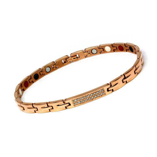 Magnetic Therapy Ankle Bracelet By Novoa, Women's Magnetic Ankle Bracelet in Rose Gold Stainless Steel 12,800 Gauss