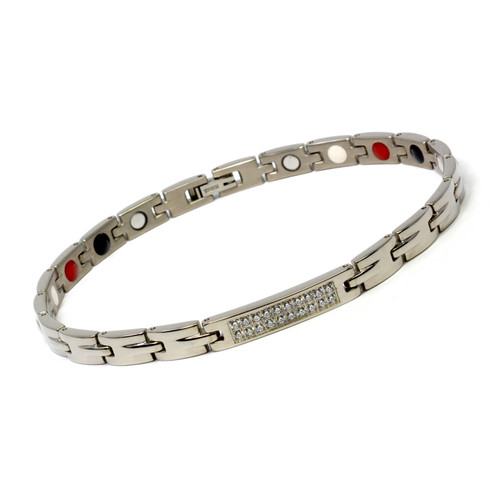Magnetic Therapy Ankle Bracelet By Novoa, Women's Magnetic Ankle Bracelet in Silver Stainless Steel 12,800 Gauss