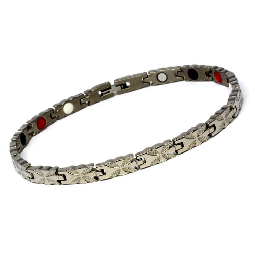 Magnetic Therapy Ankle Bracelet By Novoa, Women's Magnetic Ankle Bracelet in Silver Steel 12,800 Gauss