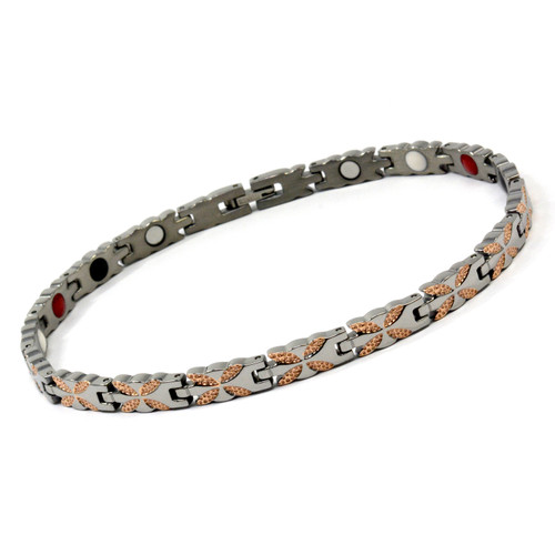 Magnetic Therapy Ankle Bracelet By Novoa, Women's Magnetic Ankle Bracelet in Silver & Gold Stainless Steel 12,800 Gauss