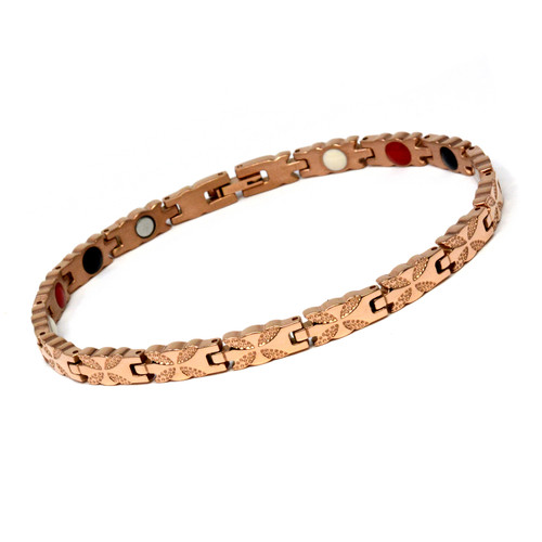 Magnetic Therapy Ankle Bracelet By Novoa, Women's Magnetic Ankle Bracelet in Rose Gold Two Tones