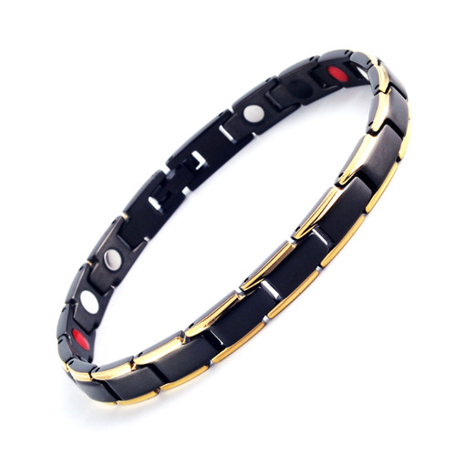 Magnetic Bracelet Novoa Women 's Titanium Germanium Gold & Frosted Black with Satin Accents - B561JD