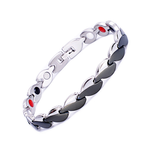 Magnetic Bracelet Novoa Women's Quad-Element Stainless Titanium Silver-Black Clovers
