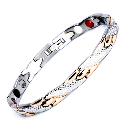 Magnetic  Bracelet Novoa Men's Quad-Element Titanium Rose Gold & Silver B234M