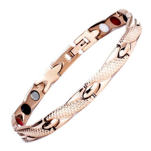 Magnetic  Bracelet Novoa Men's Quad-Element Titanium Two-Tone Rose Gold B234QM