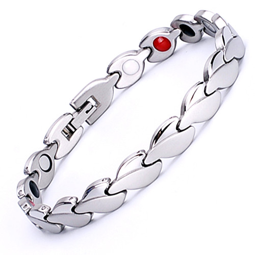 Magnetic Bracelet Novoa Women's Quad-Element Stainless Titanium Two-Tone Silver Clovers