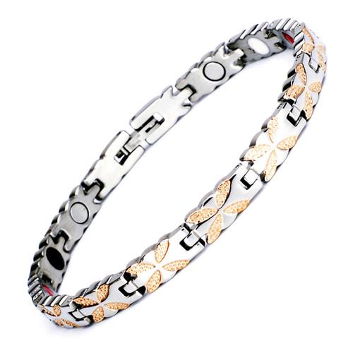 Magnetic Bracelet Novoa Women's Quad-Element Titanium Silver-Rose Gold Lucky-Clover B397M