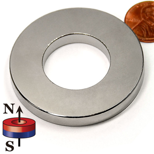 "Neodymium Ring Magnets Large Neodymium Ring Magnet  N42 OD 2"" x ID 3/4"" x 1/4"""
