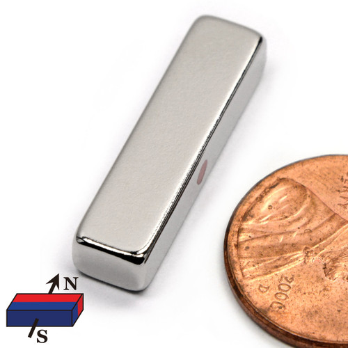 "1""x3/16""x1/4"" Neodymium Rare Earth Block Magnet /w Poles on Sides"