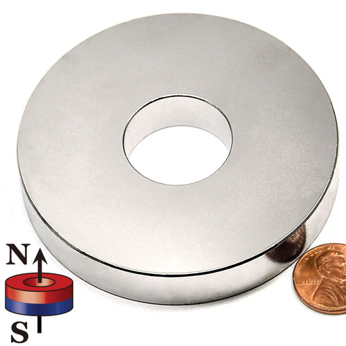 "Neodymium Ring Magnet N42 3""OD x 1""ID x 1/2"" - Liquidation"