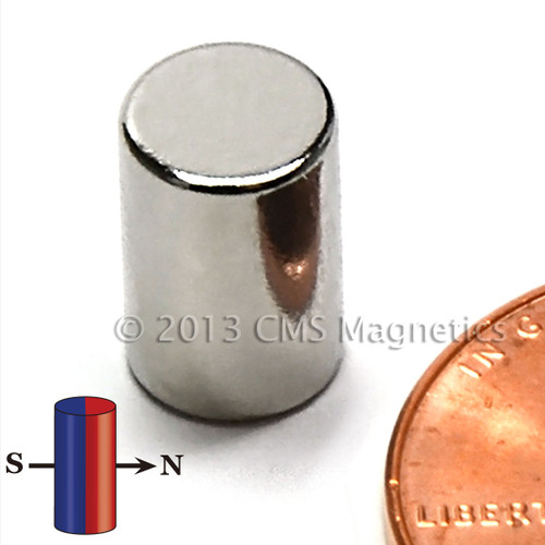 "N48 Neodymium Magnet Dia 1/4""x3/8"" Diametrically Magnetized"