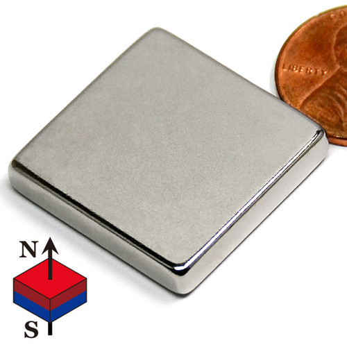 "1""x1""x3/16"" NdFeB Rare Earth Magnets N45 1""x1""x3/16"" Neodymium Rare Earth Block Magnet (NB0189-45NM)"