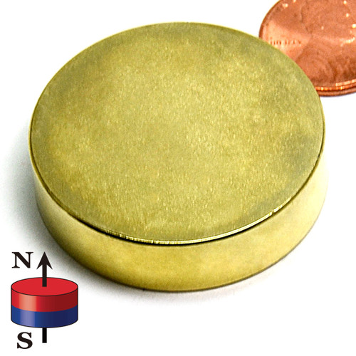 "1 1/2X3/8"" N42 Neodymium Magnet for Therapy Gold Plated"