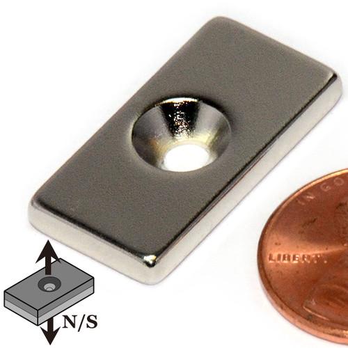 "1""x1/2""x1/8"" Neodymium Rare Earth Block Magnet w/ one #6 Countersunk Hole"