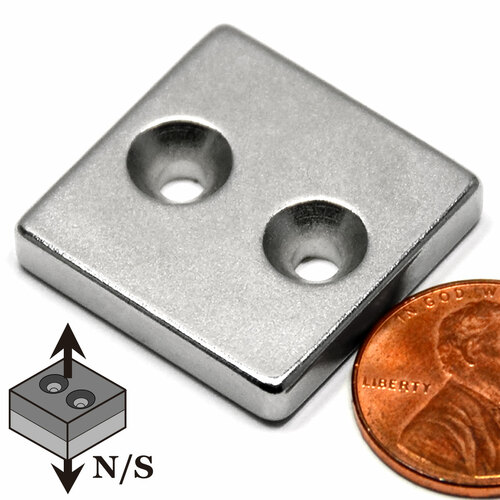 "Neodymium Magnet N42 2x1x1//4/"" w// 2 Countersunk holes for #6 Screws 4 PC-S pole"