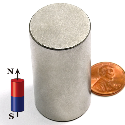 "1 x 2"" N45 Cylindrical Neodymium Magnet"
