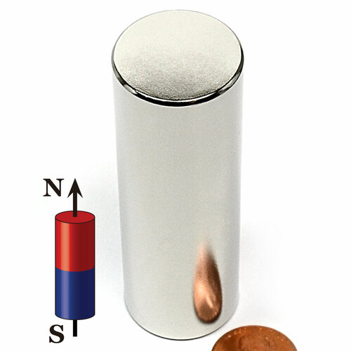 "1""X3"" N45 Cylindrical Neodymium Magnet"