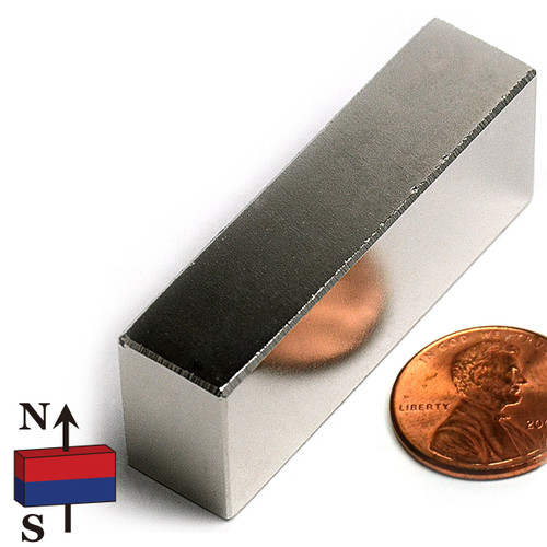 "N45 2x1/2x3/4"" Rare Earth NdFeB Bar Magnet"
