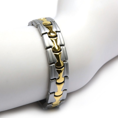 """<img src="""" Magnetic Bracelet Novoa Titanium.png"""" alt=""""Magnetic Bracelet Novoa Titanium Men's Satin With Gold Accent  """">"""