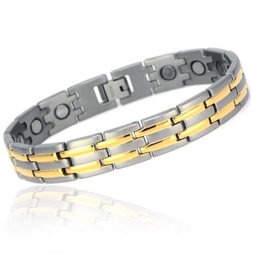 Magnetic Bracelet Novoa Titanium Men's Satin  With Gold Accents - 12,800 Gauss #A8230
