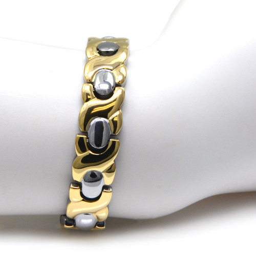 Magnetic Bracelet Titanium & Gold Therapy Magnetic therapy bracelet