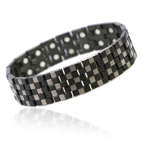 Magnetic Bracelet Novoa Men's Titanium Checkerboard Pattern  with 12,800 Gauss #A8602
