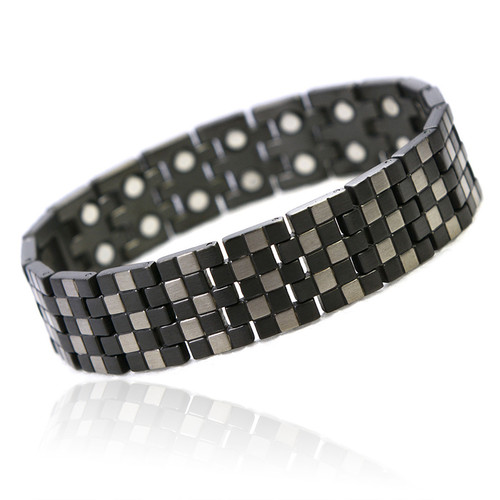 Magnetic Bracelet Novoa Men's Titanium Checkerboard Pattern  with 12,800 Gauss #A8602