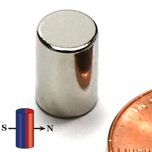 "N42 Neodymium Cylinder Magnet 1/4""x1/2"" Diametrically Magnetized"