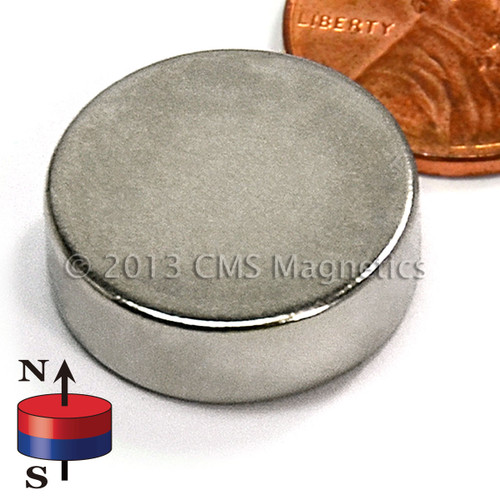 """Disc Neodymium Magnets Disc Magnet N52 3/4""""x1/4"""" Neodymium Rare Earth (ND046-52NM) (view)"""