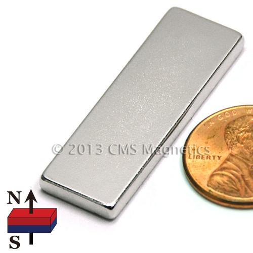 """1.5X1/2X1/8"""" Neodymium Magnet Bar Magnet 1-1/2 x 1/2 x 1/16"""" N45 Neodymium Rare Earth Bar Magnet (NB02124-45NM)"""