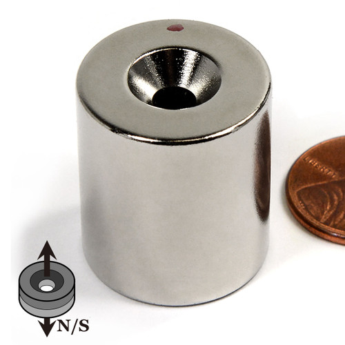 "N42 7/8""x1"" Neodymium Rare Earth Cylindrical Magnet with #10 Countersunk Hole on Both Sides"