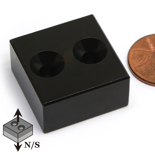 "N42 1""x1""x1/2"" Neodymium Rare Earth Block Magnet w/ 2 #8 Countersinks Epoxy Coated"
