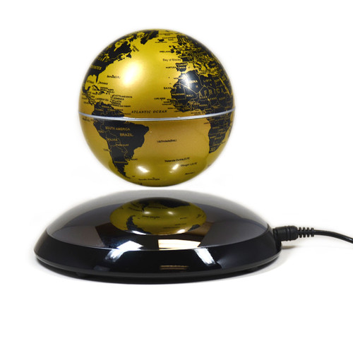 Magnetic Levitation Silver Base Golden Globe