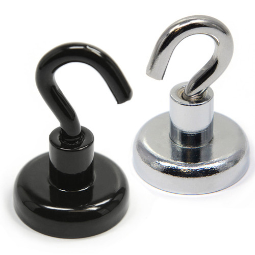 Magnetic Hooks Neodymium Color Black/Silver Powder Coated