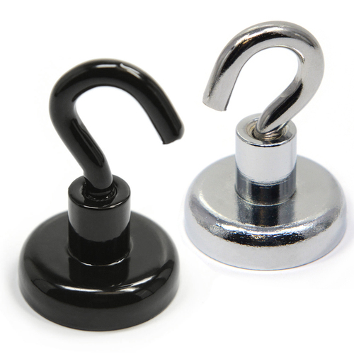 Magnetic Hooks Neodymium Color Black/Silver Powder Coated