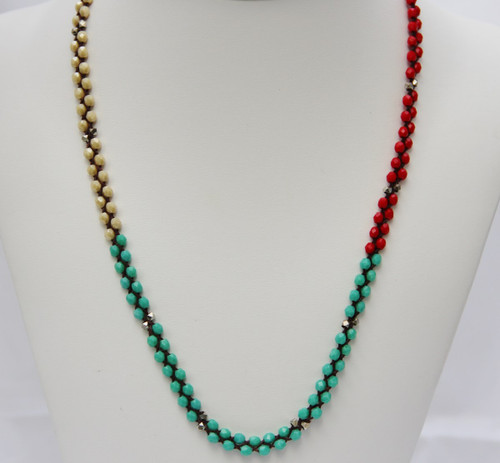 Glass Triple Wrap Bracelet - red, turquoise, champagne
