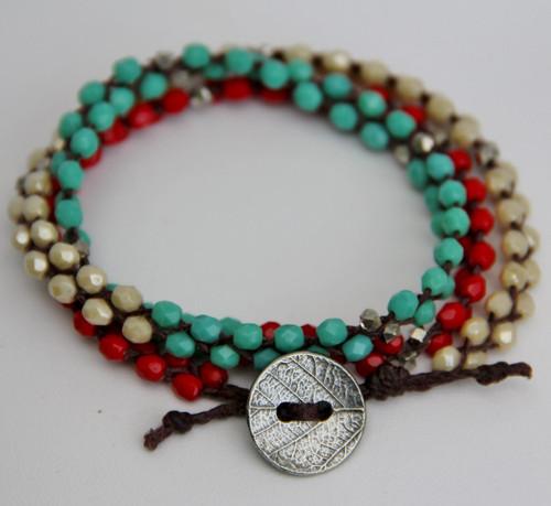 Wrap 3 times for bracelet.