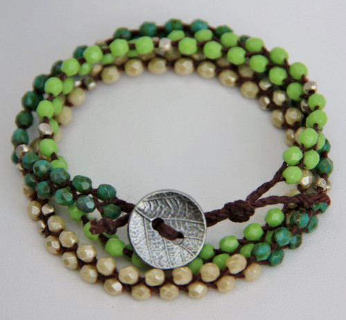 Glass Triple Wrap Bracelet - champagne, lime, turquoise picasso