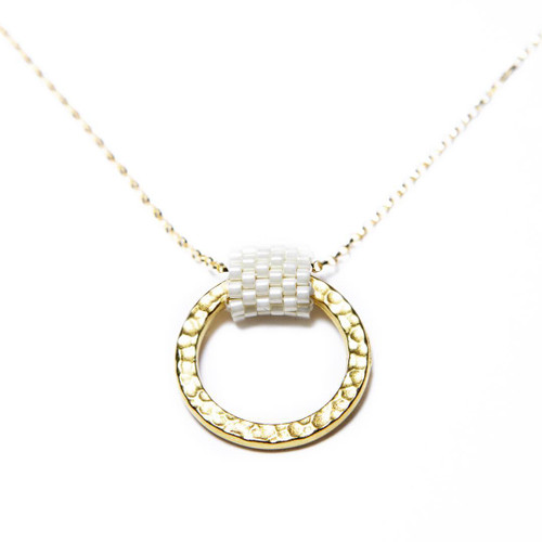Beaded Gold Circle Necklace