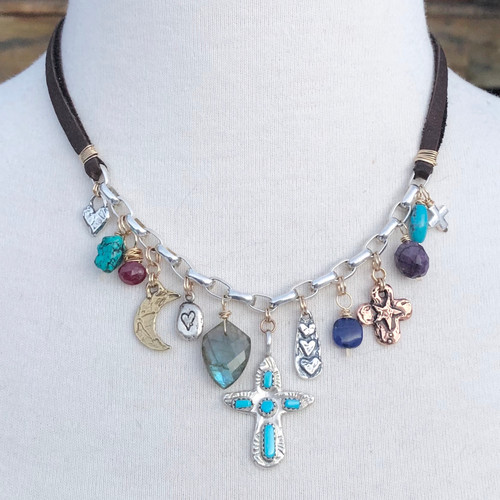 Turquoise Cross Confetti Necklace