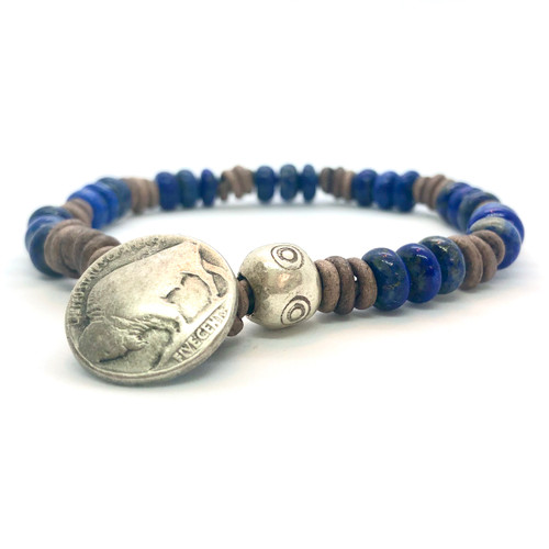 Men's Lapis and Leather Buffalo Bracelet