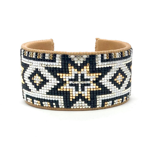 Luxe Cuff - Black and Gold Stars
