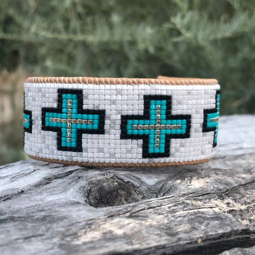 Luxe Cuff - Crosses Turquoise White