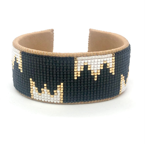 Luxe Cuff - Black and Gold Crowns