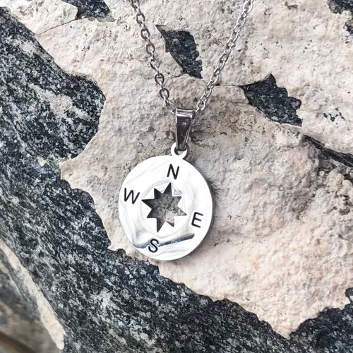 Silver Compass Necklace stainless