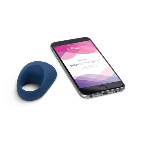 We-vibe Pivot Rechargeable Silicone Vibrating Cock Ring - Midnight Blue with phone connectivity