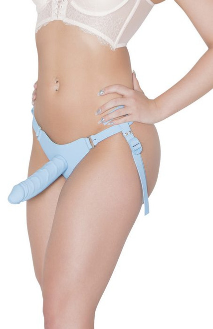 Woman wearing Adam & Eve Silicone Strap On System bottom front view